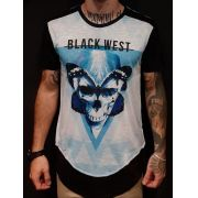 Camiseta Long Black West Blue Butterfly Skull