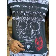 Camiseta Long Line Volk Culture Caveira e Rosa Picture
