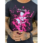 Camiseta Long Line Volk Culture Rosa Respingos Cotton