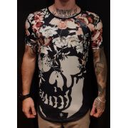 Camiseta Long Riviera Skull Flowers