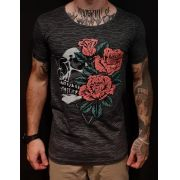 Camiseta Long Riviera Skull Flowers Two