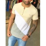 Camiseta M Artt Branca Basic Detalhe Amarelo e Cinza