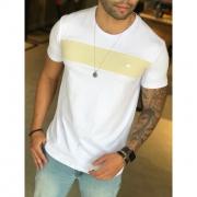 Camiseta M Artt Branca Basic Detalhe Bege