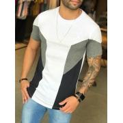 Camiseta M Artt Branca Faixa Cinza Lateral