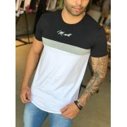 Camiseta M Artt Dual Branca e Preta Faixa Cinza