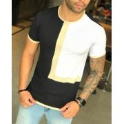 Camiseta M Artt Dual Preta e Branca Faixa Bege
