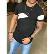 Camiseta M Artt Preta Detalhe Faixas