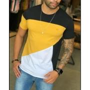 Camiseta M Artt Preta Detalhes Amarelo e Branco
