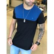 Camiseta M Artt Preta Faixa Azul