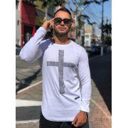 Camiseta Manga Longa Kreta Branca Cruz