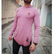 Camiseta Manga Longa Kreta Rose Rasgada