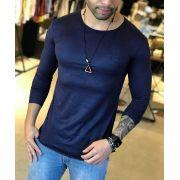 Camiseta Manga Longa M Artt Azul Gola Redonda Suede