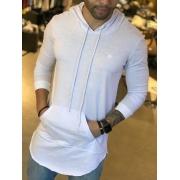 Camiseta Manga Longa M Artt Branca Bolso Detalhes