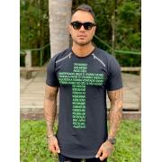 Camiseta Preta Long Cruz Pai Nosso Line Premium Volk Culture