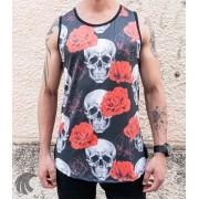 Camiseta Regata Volk Culture Preta Caveira e Rosas
