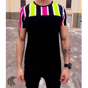 Camiseta Starpolis Preta Faixas Multicores