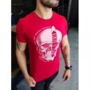 Camiseta Starpolis Vermelha Caveira Detalhes Brilhantes