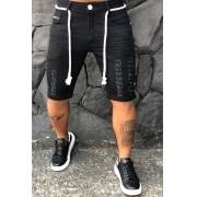 Short Jeans Codi Destroyed Preta Cordão Two Prime