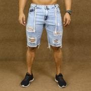 Short Jeans Masculino Caunt Azul Claro Cordão Destroyed