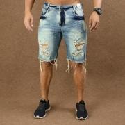 Short Jeans Masculino Caunt Azul Destroyed