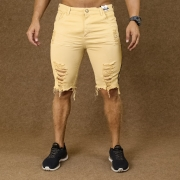 Short Jeans Masculino Caunt Bege Destroyed