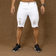 Short Jeans Masculino Caunt Branco Destroyed