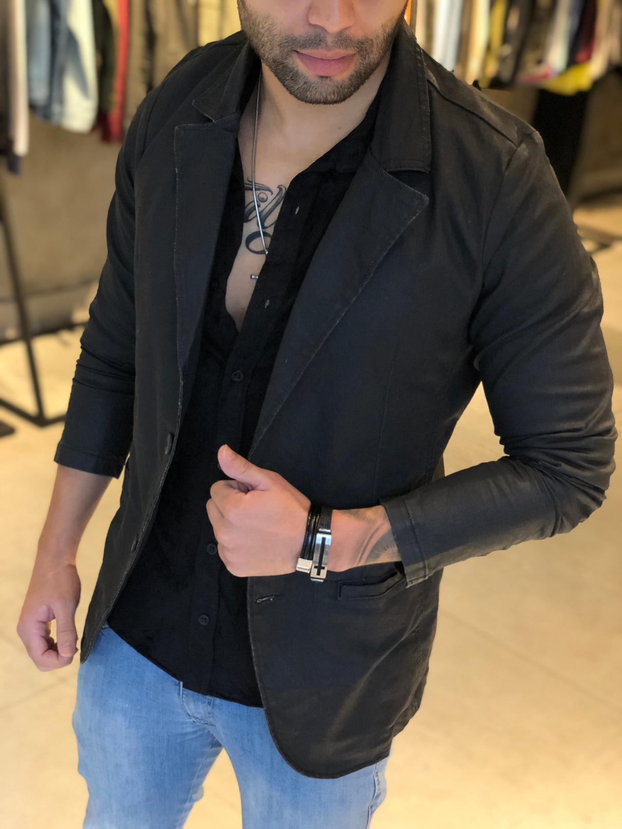 Blazer Masculino M Artt Preto Two Deluxe  - Harpia Moda - Moda Masculina & Acessórios