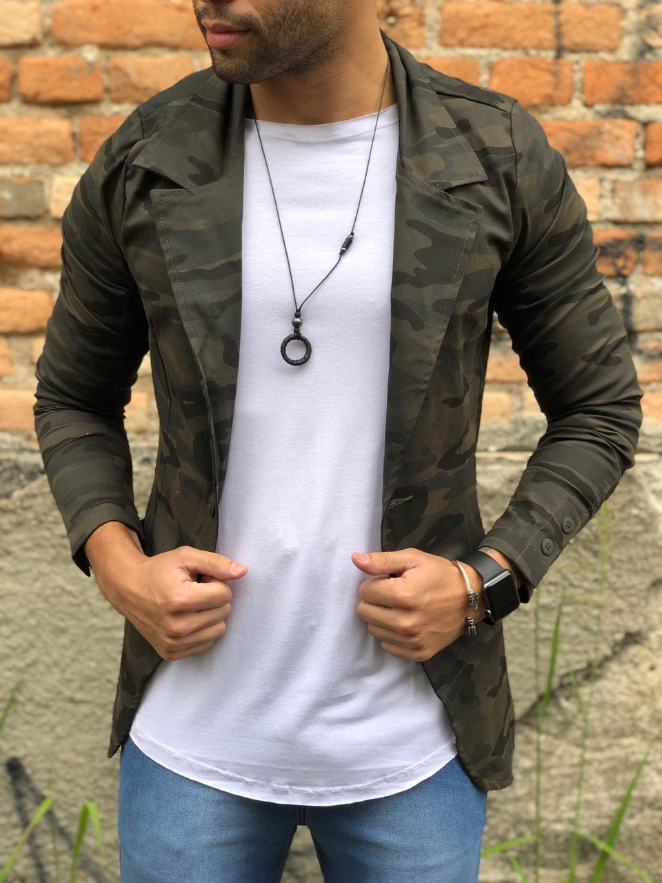 Blazer Masculino M Artt Verde Camuflado Deluxe  - Harpia Moda - Moda Masculina & Acessórios