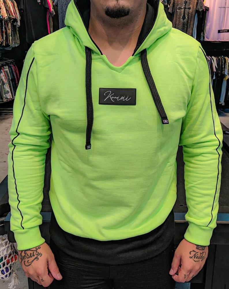 Blusa Moletom Kawippi Verde Neon  - Harpia Moda - Moda Masculina & Acessórios