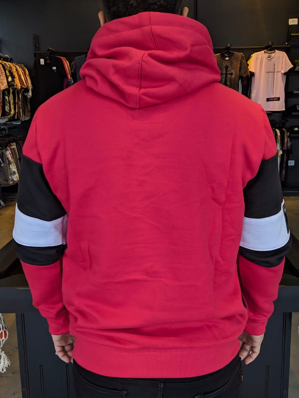 Blusa Moletom Kawippi Vermelha Faixa  - Harpia Moda - Moda Masculina & Acessórios