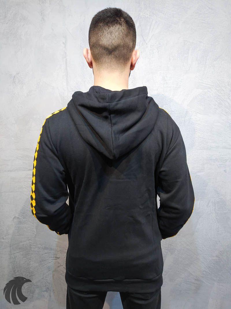 Blusa Moletom Kawippi Xadrex Preta Faixa Amarela  - Harpia Moda - Moda Masculina & Acessórios