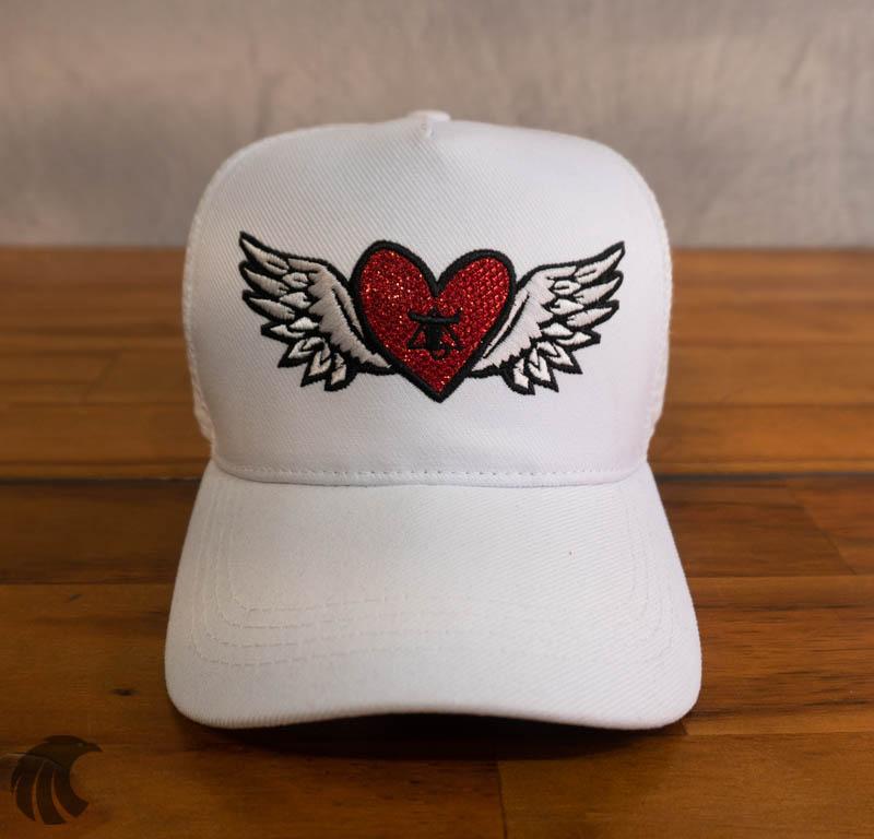 Boné Totanka Branco Heart Tela  - Harpia Moda - Moda Masculina & Acessórios