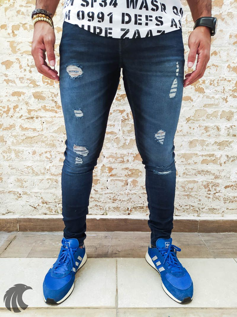 Calça Austin Skinny Destroyed Blue Deluxe  - Harpia Moda - Moda Masculina & Acessórios