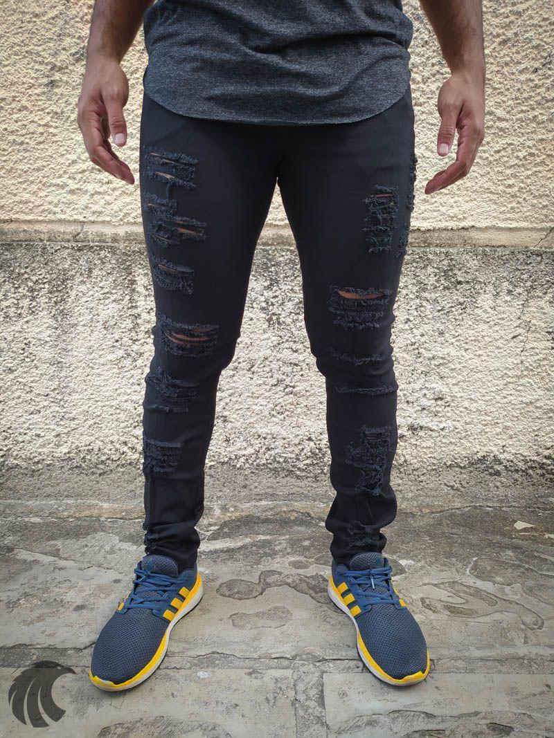 Calça Austin Skinny Black Destroyed  - Harpia Moda - Moda Masculina & Acessórios