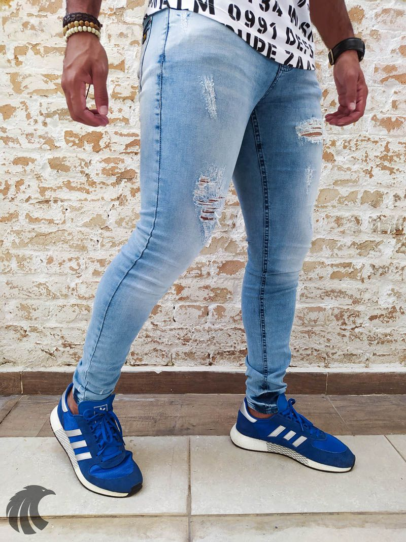 Calça Austin Skinny Blue Destroyed Three  - Harpia Moda - Moda Masculina & Acessórios