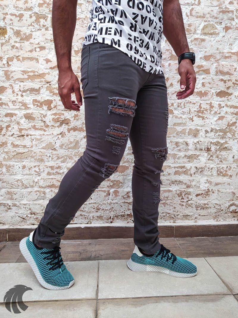 Calça Austin Skinny Destroyed Grey One  - Harpia Moda - Moda Masculina & Acessórios
