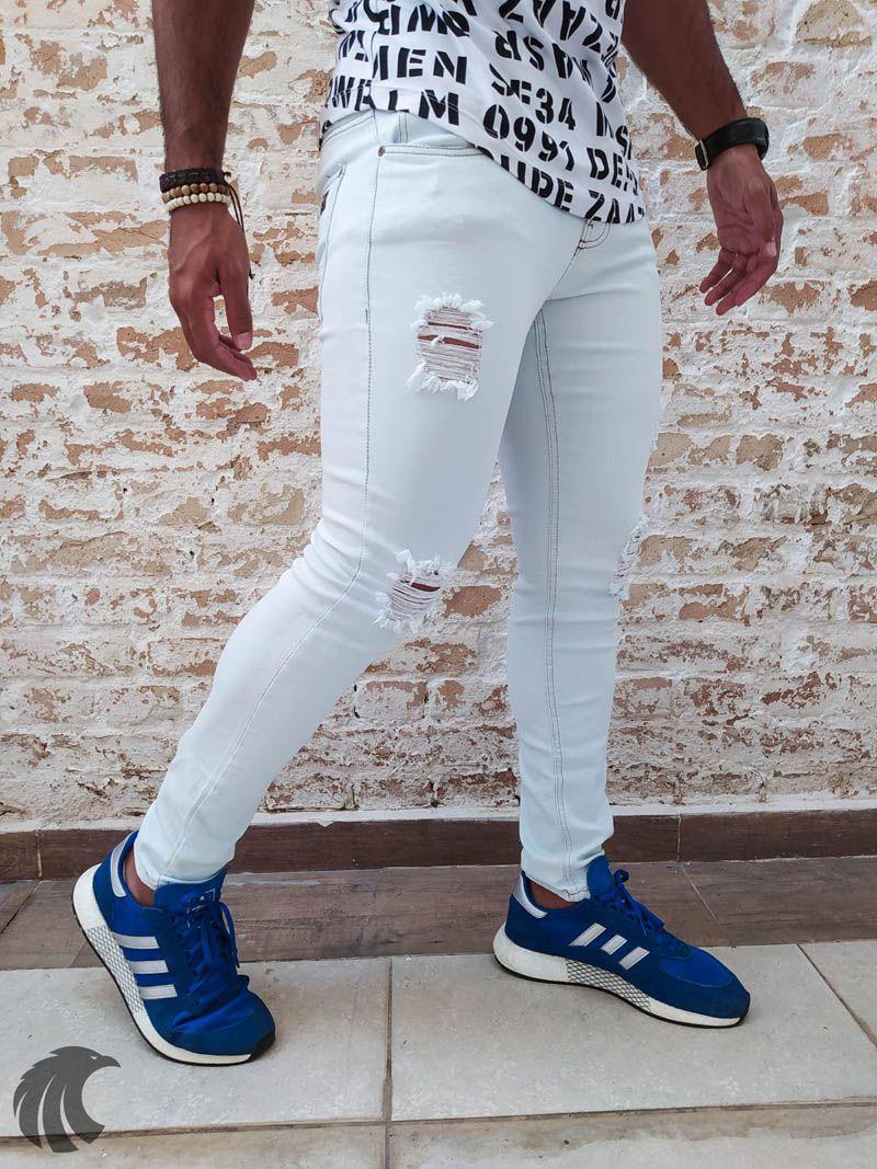Calça Austin Skinny Destroyed Grey Three  - Harpia Moda - Moda Masculina & Acessórios