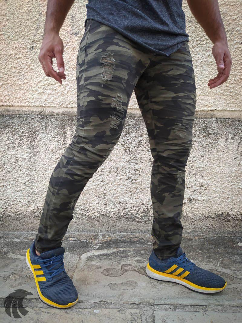 Calça Austin Skinny Sarja Camuflada  - Harpia Moda - Moda Masculina & Acessórios