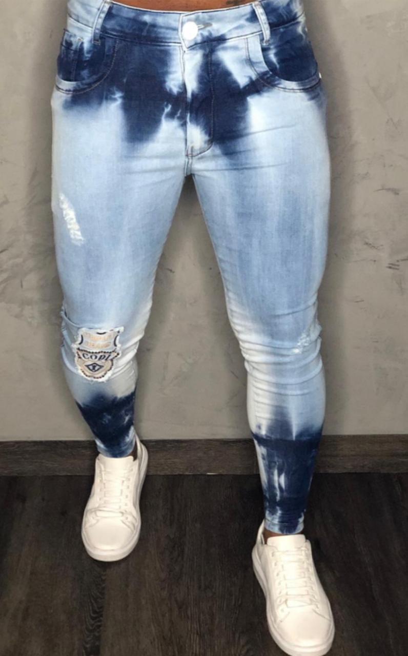 Calça Codi Jeans Skinny Azul Claro Mesclada Detalhe Na Perna  - Harpia Moda - Moda Masculina & Acessórios