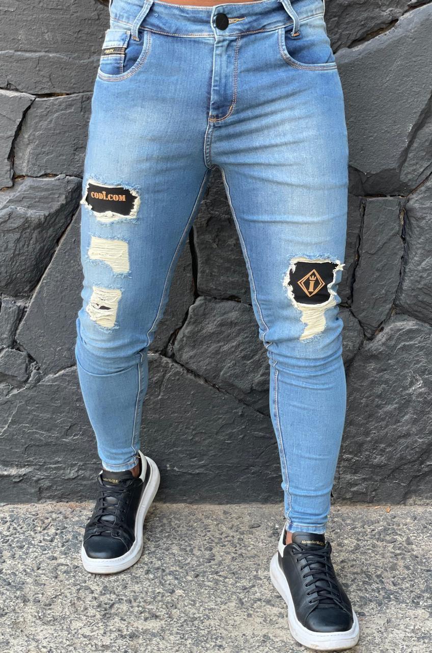 Calça Codi Jeans Skinny Azul Detalhe Coxa  - Harpia Moda - Moda Masculina & Acessórios