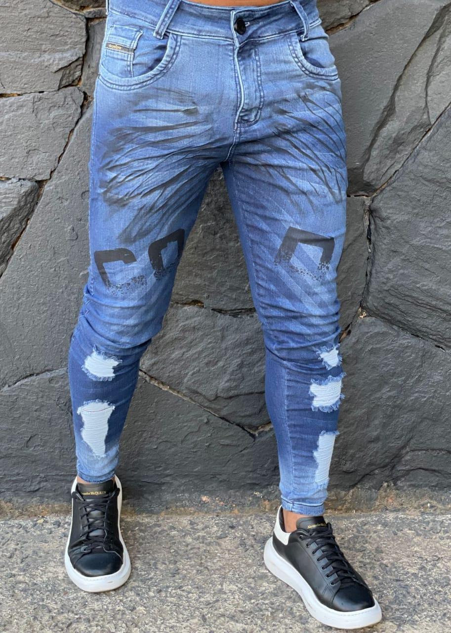 Calça Codi Jeans Skinny Azul Detalhe Frontal  - Harpia Moda - Moda Masculina & Acessórios
