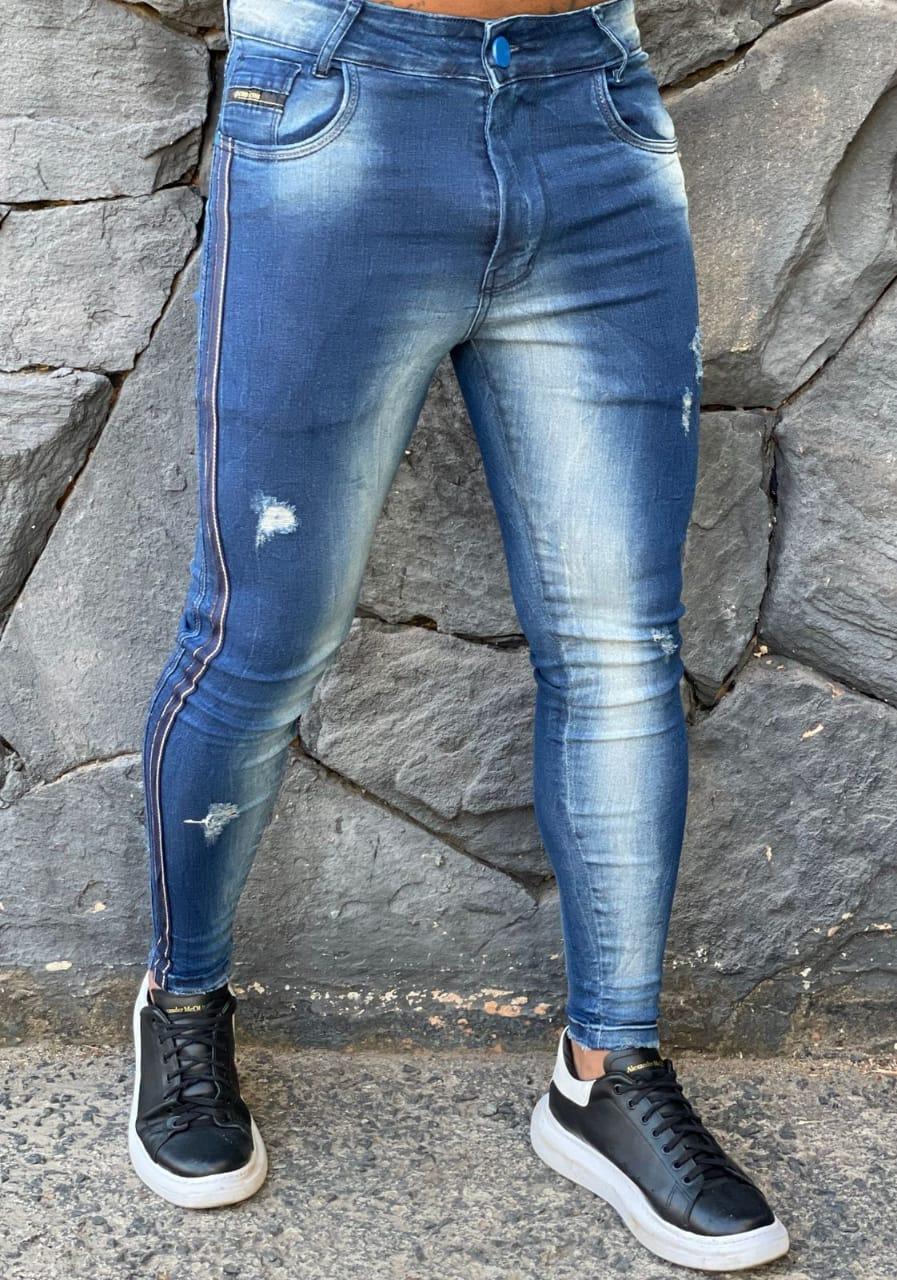 Calça Codi Jeans Skinny Azul Linha Lateral  - Harpia Moda - Moda Masculina & Acessórios