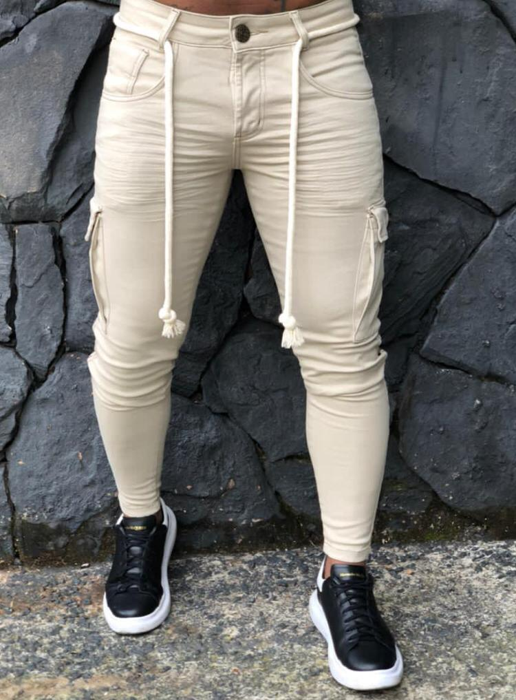 Calça Codi Jeans Skinny Creme Bolso Cargo  - Harpia Moda - Moda Masculina & Acessórios