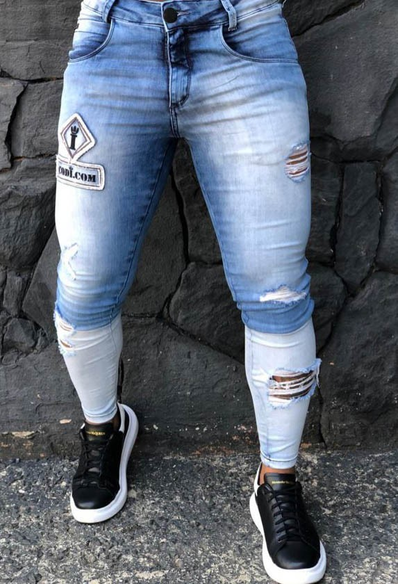 Calça Masculina Codi Skinny Azul Claro Destroyed Dual  - Harpia Moda - Moda Masculina & Acessórios