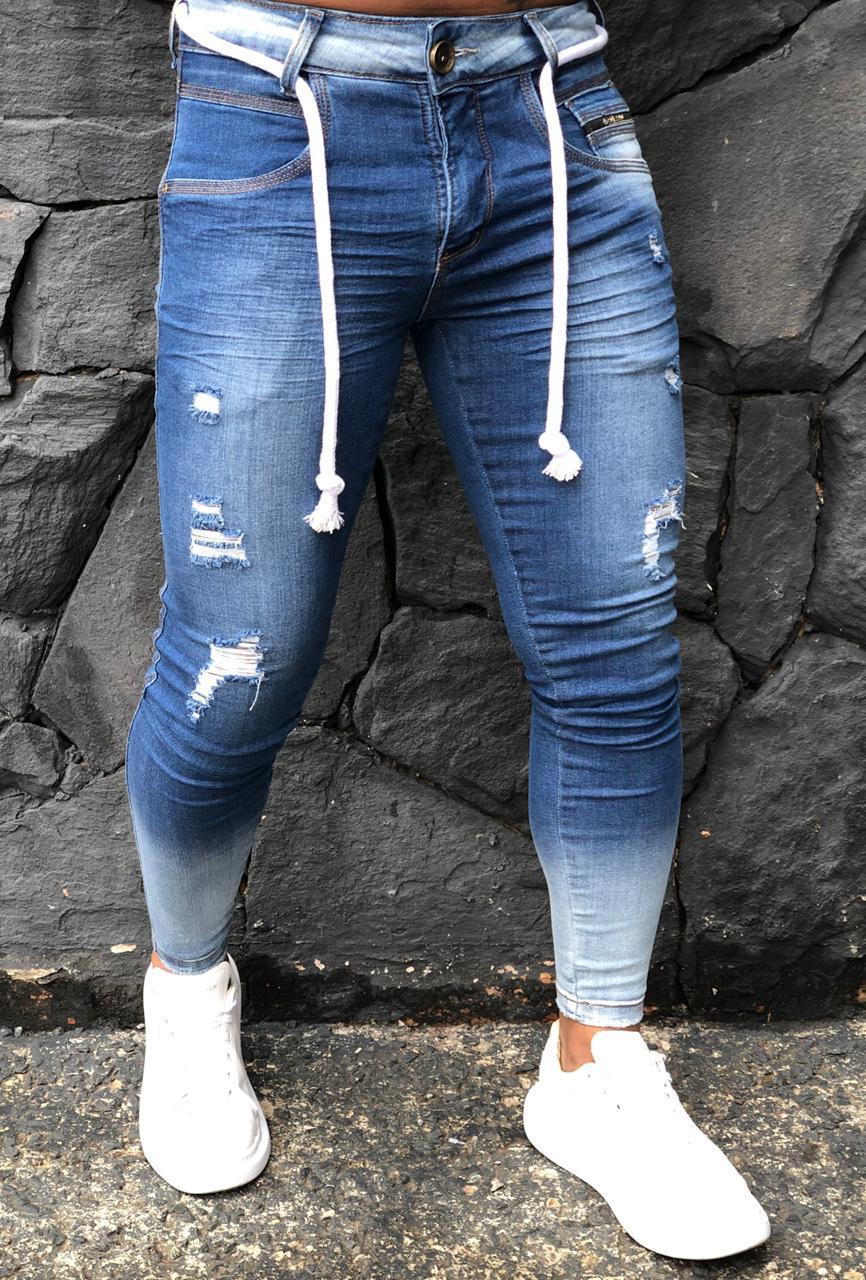 Calça Codi Skinny Azul Degrade Claro Destroyed  - Harpia Moda - Moda Masculina & Acessórios