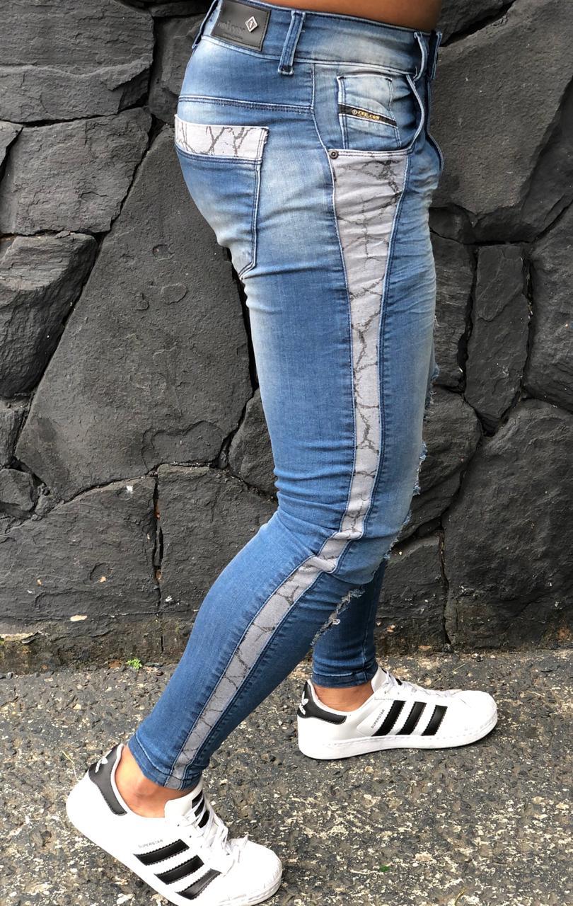 Calça Masculina Codi Skinny Azul Destroyed Deluxe  - Harpia Moda - Moda Masculina & Acessórios