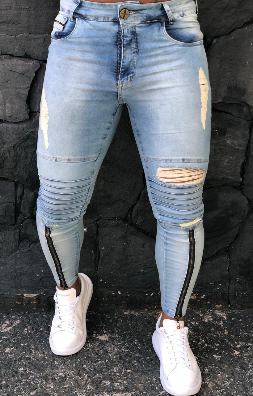 Calça Masculina Codi Skinny Azul Destroyed Ziper Prime  - Harpia Moda - Moda Masculina & Acessórios