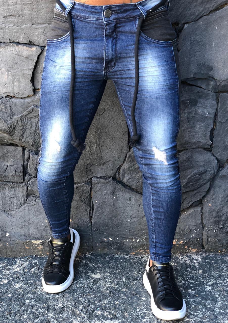 Calça Masculina Codi Skinny Azul Faixa Preta  - Harpia Moda - Moda Masculina & Acessórios