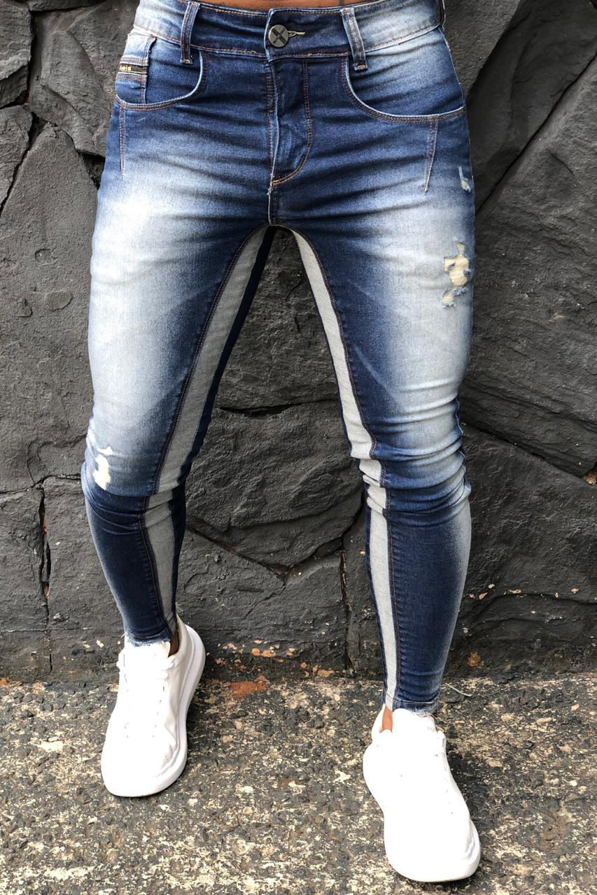 Calça Masculina Codi Skinny Azul Jeans Detail Gray  - Harpia Moda - Moda Masculina & Acessórios