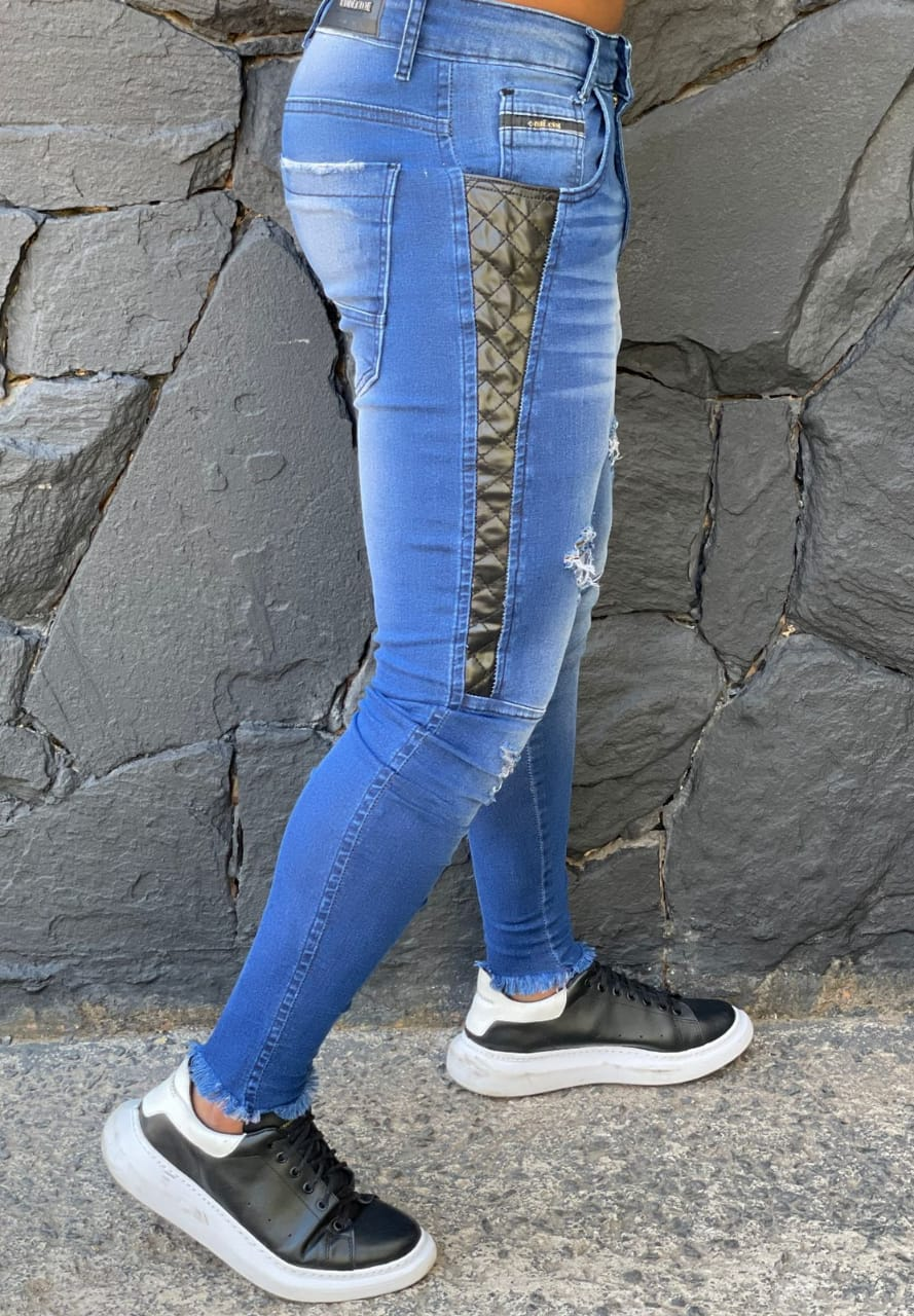 Calça Codi Skinny Azul Jeans Detalhe Lateral  - Harpia Moda - Moda Masculina & Acessórios